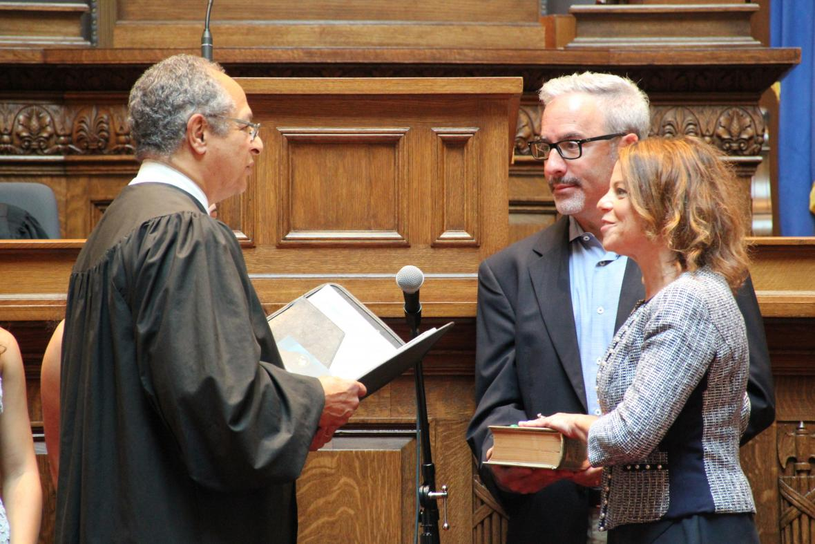 Former state Supreme Court Justice Louis Butler administers the oath of office to new Justice Rebecca Dallet on Monday, Aug. 6, 2018. Dallet was elected to a 10-year term in April. Dallet's term began officially last week. Shawn Johnson/WPR.