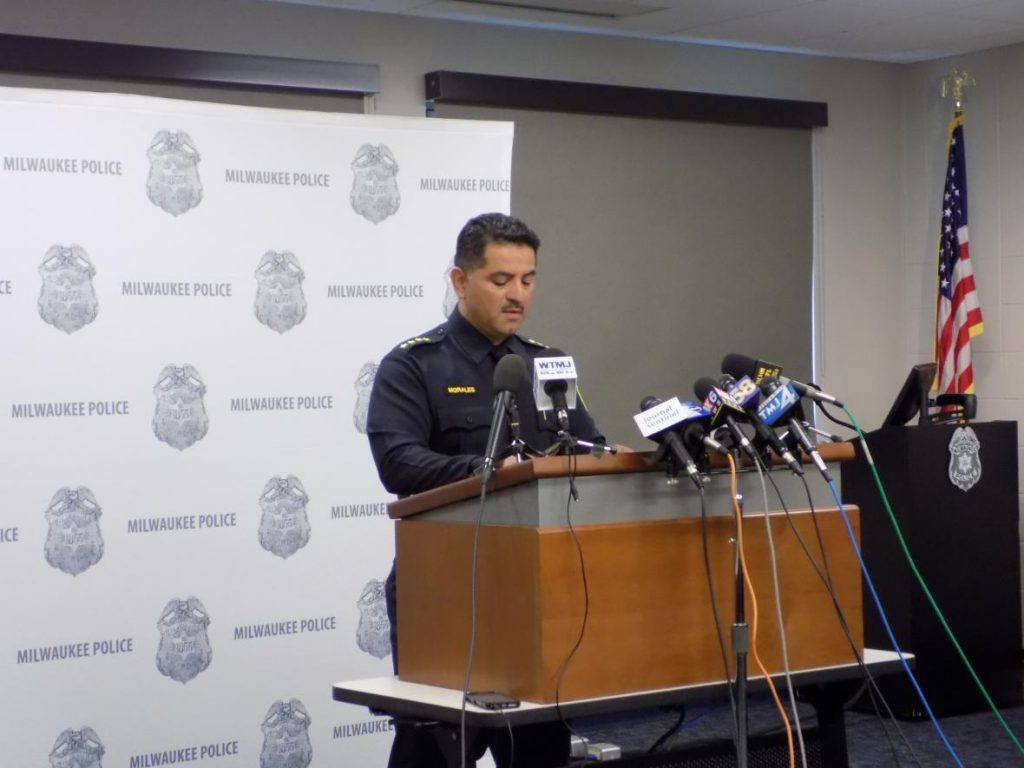 Milwaukee Police Chief Alfonso Morales provides a six-month department update to reporters and local officials Monday, Aug. 20, 2018. Photo by Ximena Conde/WPR.