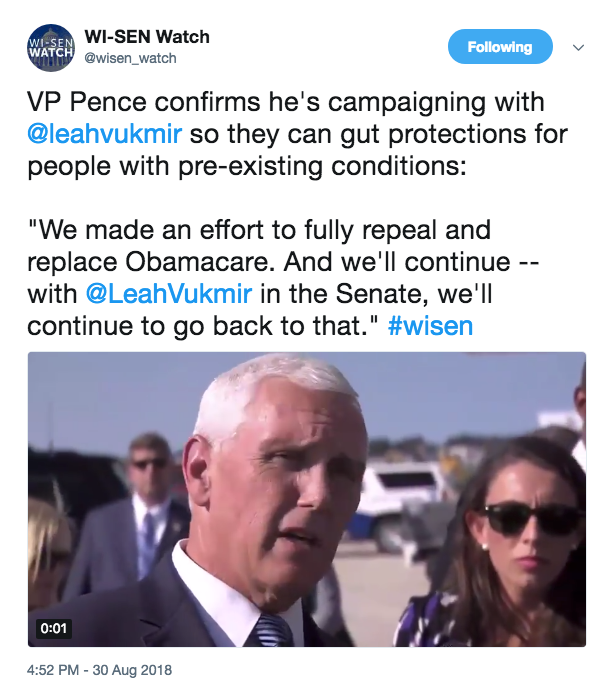 Vice President Pence Confirms Leah Vukmir As Deciding Vote To Gut Pre-Existing Condition Protections