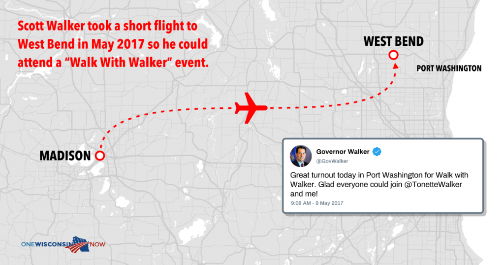"Scott Walker took a short flight to West Bend in May 2017 so he could attend a ""Walk With Walker"" event."