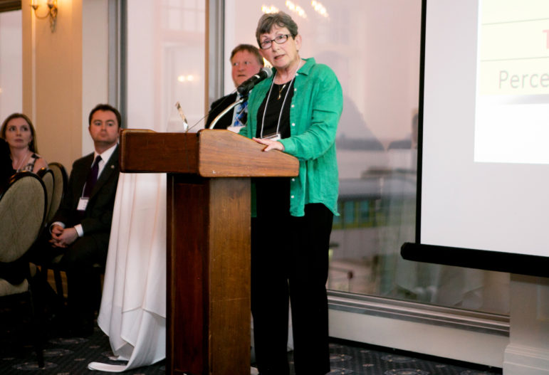 """McFarland resident Sheila Plotkin wins the Citizen Openness Award (""""Copee"""") for a public records project examining the widespread public opposition to the Legislature's eventual dismantling of the Government Accountability Board, results of which were posted online at We, the Irrelevant. The award was given at the Wisconsin Watchdog Awards at the Madison Club in 2016. Photo by Jentri Colello / For the Wisconsin Center for Investigative Journalism."""