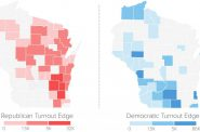 Democratic turnout in the primary for governor exceeded Republican turnout in the primary for U.S. Senate in 33 out of Wisconsin's 72 counties, with the largest block in southern and western Wisconsin. Map by John K. Wilson/WPR based on unofficial election results from the Associated Press.