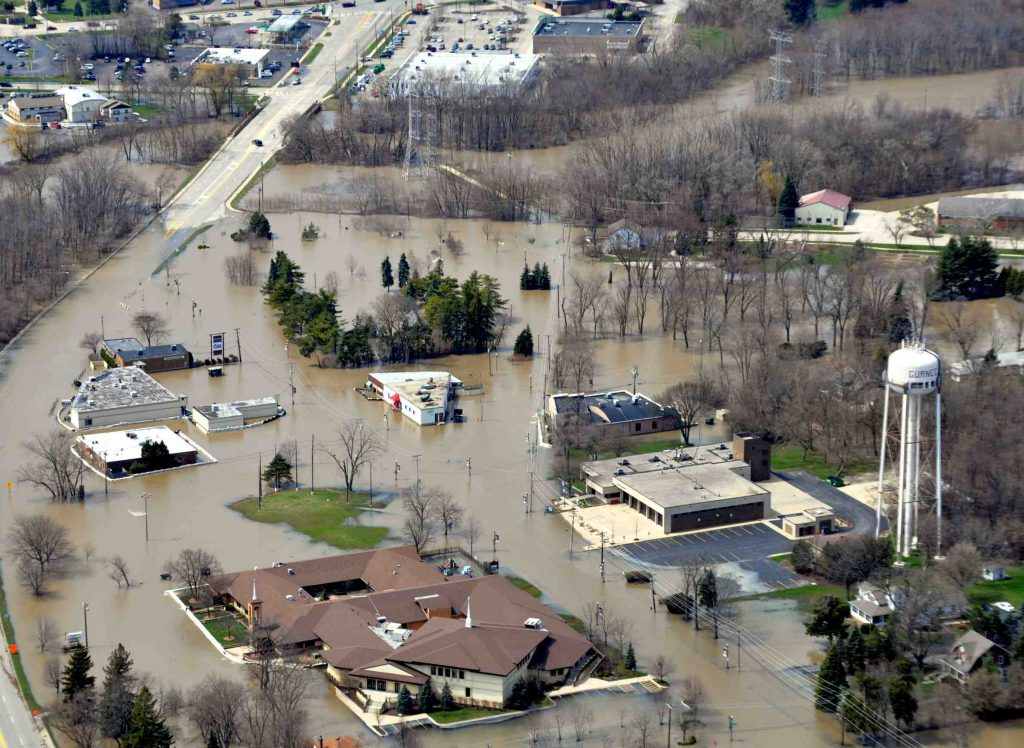 The Des Plaines River saw record flooding in 2013, including in the community of Gurnee. Photo from Lake County, Illinois (CC BY 2.0)
