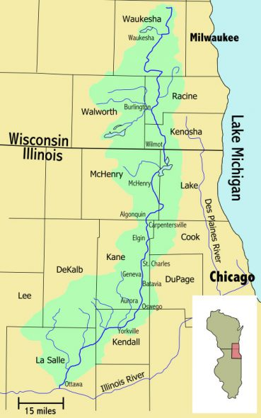 Another Illinois River tributary, the Fox River, also flows south from Wisconsin into northeastern Illinois. Map by Fay2 (CC BY-SA 3.0)
