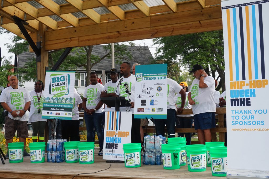 Ald. Russell Stamper (at microphone) speaks at Big Clean MKE at the Fondy Food Center. Photo by Sarah Lipo/NNS.