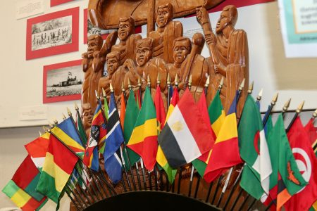 Flags of numerous African nations are among the first things visitors notice when they enter the Wisconsin Black Historical Society and Museum. Photo by Max Nawara/NNS.