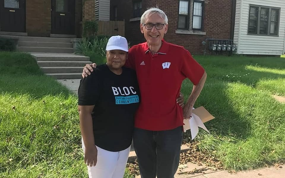 Black Leaders Organizing for Communities member with Tony Evers. Photo courtesy of BLOC.
