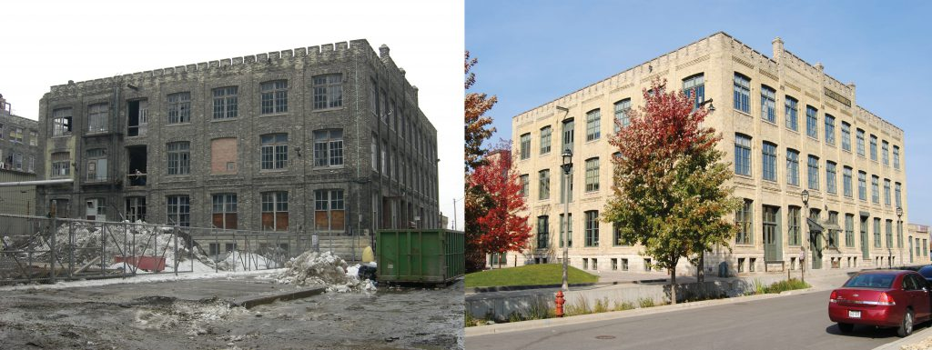 Pabst Boiler House No. 10 before and after renovation. Photo courtesy of Colliers International.
