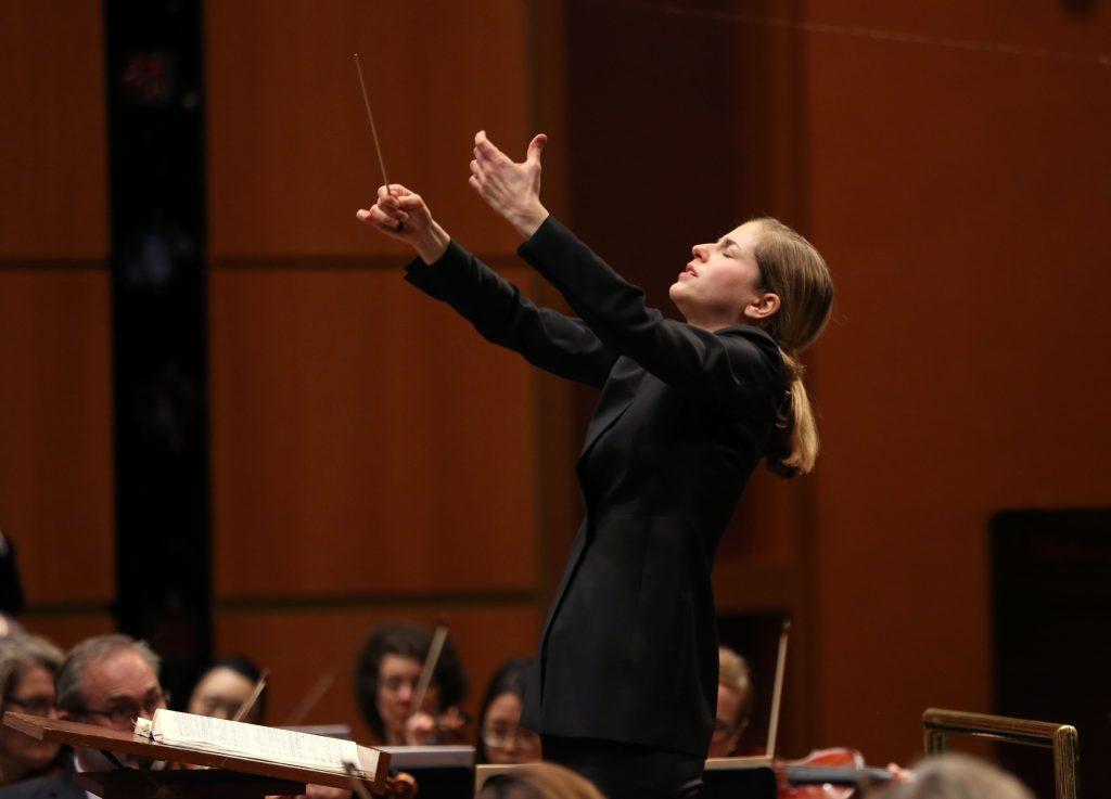 Karina Canellakis. Photo by Jonathan Kirn courtesy of the Milwaukee Symphony Orchestra.