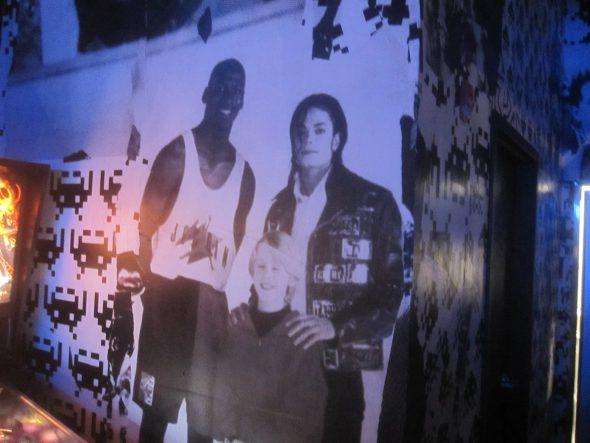 Photograph of Michael Jordan, Michael Jackson and Macaulay Culkin. Photo by Michael Horne.