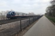 The Amtrak Hiawatha approaching downtown Milwaukee. Photo by Jeramey Jannene.