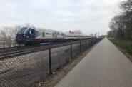 The Amtrak Hiawatha approaching downtown Milwaukee. Photo by Jeramey Jannene.