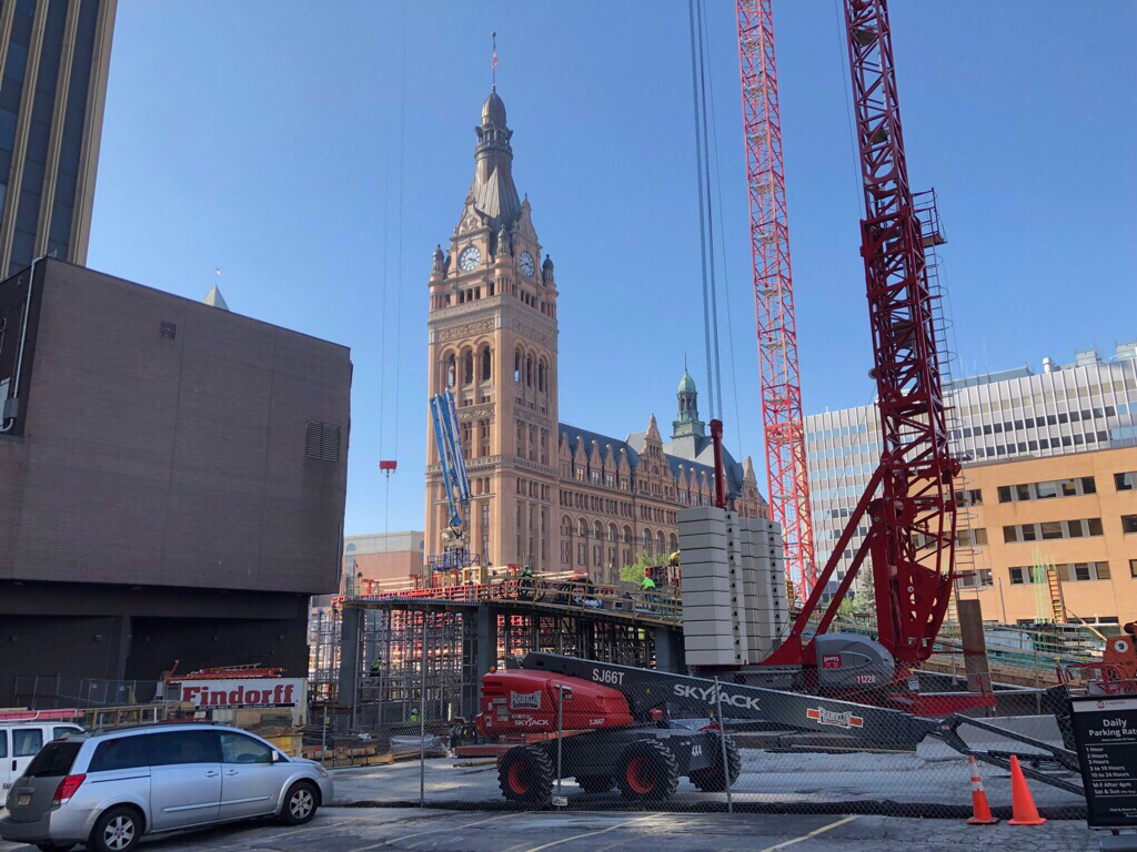BMO Tower rising in front of Milwaukee City Hall. Photo by Jeramey Jannene.