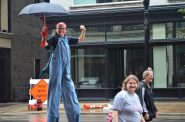 Rosie the Riveter on Stilts at Labor Day Parade 2018. Photo by Jack Fennimore.
