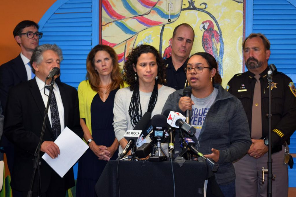Gissell Vera, who's uncle was one of those arrested by ICE in Milwaukee, speaks at a press conference at Centro Hispano in Madison on Monday, Sept. 24. Photo by Phoebe Petrovic/WPR.