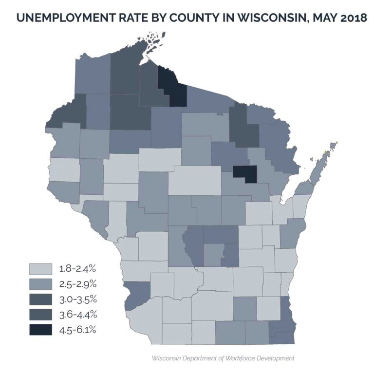 Unemployment rate by county in Wisconsin, May 2018. Center on Wisconsin Strategy