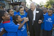 Joe Zilber gets a warm welcome from members of the Joseph J. Zilber Boys and Girls Club in September 2008 when he announced the Zilber Neighborhood Initiative grant at Walnut Way. Photo by Michael Sears courtesy of the Zilber Family Foundation.