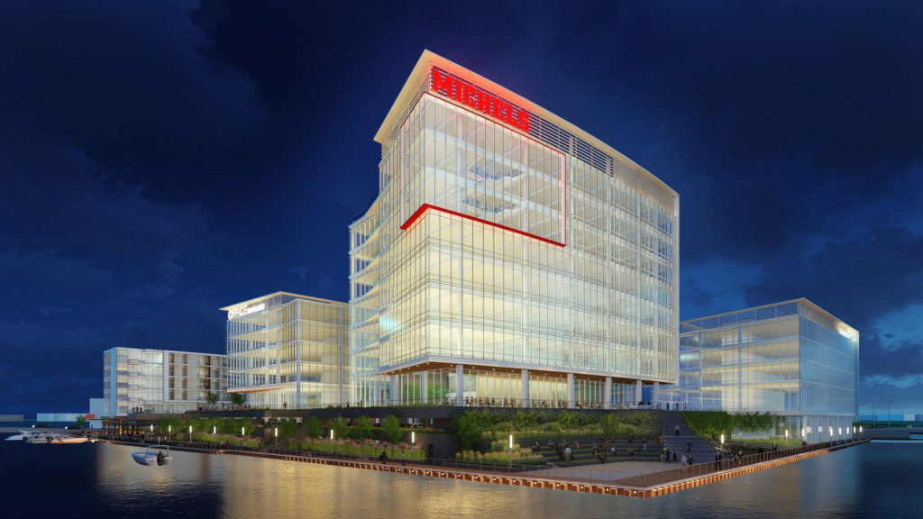 Michels office building in River 1. Rendering by Rinka Chung Architecture.