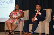 Shanyeill McCloud, left, of Clean Slate Wisconsin, speaks at a luncheon hosted by the Wisconsin Policy Forum on Tuesday, Sept. 11, 2018. Dane County District Attorney Ismael R. Ozanne, right, also spoke at the luncheon. Photo courtesy of WPR.
