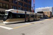 The Hop, Milwaukee's streetcar, pictured on N. Broadway during testing. Photo by Jeramey Jannene.