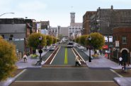 "This rendering of S. 2nd Street includes a variety of features of a ""Complete Street."" Many, such as wider sidewalks, street trees and bike lanes, were incorporated in the streets reconstruction in 2010. Rendering by Kieran Sweeney."