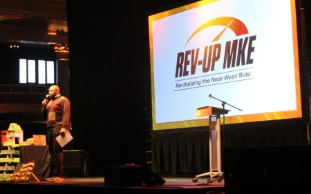 Keith Stanley speaks at this year's annual Rev-Up MKE event at the Eagles Club. Photo by Sarah Lipo/NNS.