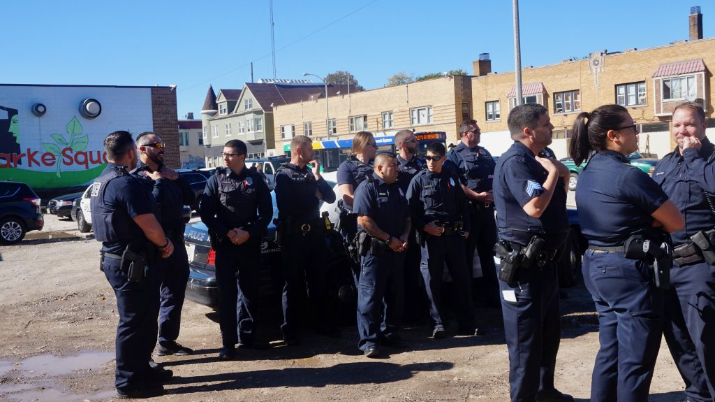 Police officers gather for the announcement of a new beat initiative in District 2. Photo by Sarah Lipo/NNS.