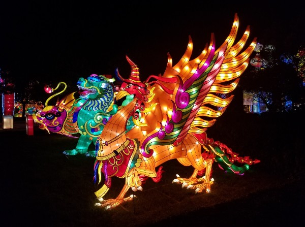 China Lights features spectacular light displays and sculptures, including these mythical creatures. Photo from Milwaukee County Parks.