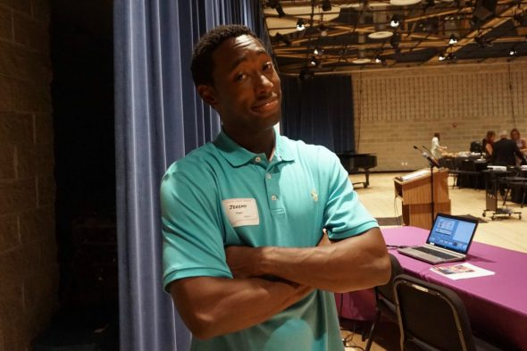 Actor Jeremy Tardy spoke at a recent event for First Stage at the Milwaukee Youth Arts Center. Photo by Sarah Lipo/NNS.