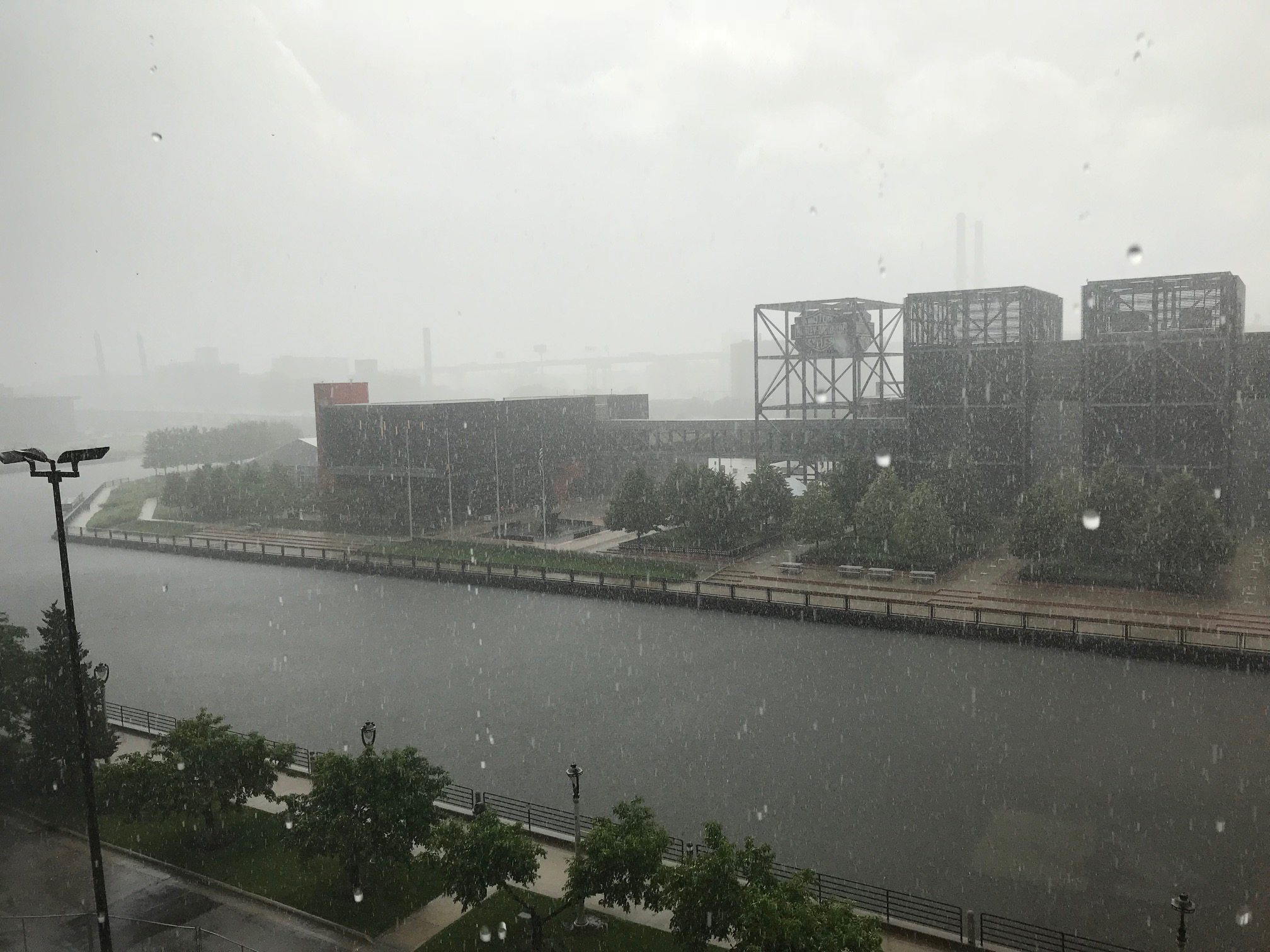 Looking out the windows at MMSD headquarters during a downpour that resulted in the first combined sewer overflow of 2018. Photo courtesy of MMSD.