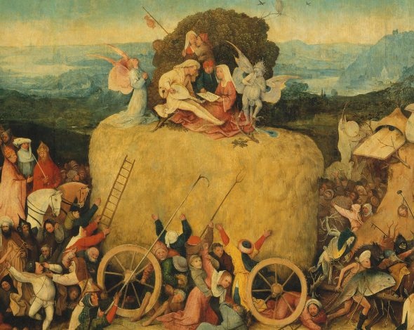 Central figures in Haywain Triptych (1516) by Hieronymus Bosch. Photo is in the Public Domain.