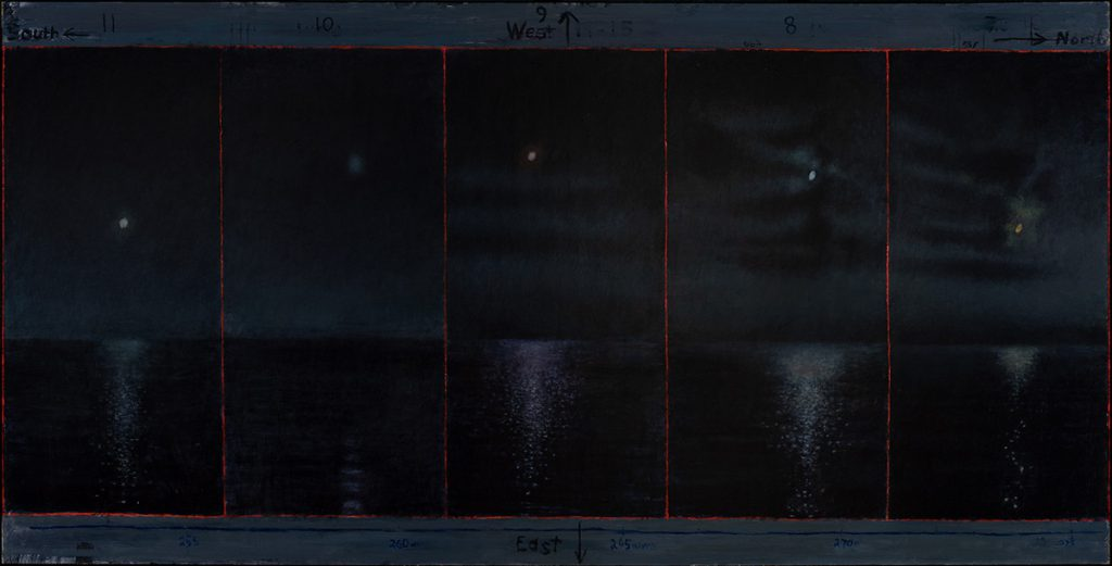 David Niec: David Niec: Panel 2: June Moon Cycle Over Lake Michigan, The Waxing Moons, 2018 Oil on panel 36″ x 72″
