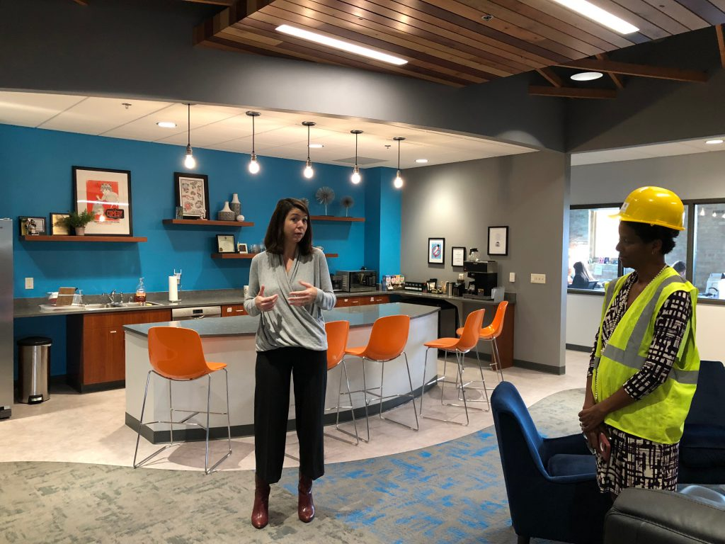 Sara Meaney shows off the Milwaukee Film space at No Studios. Photo by Jeramey Jannene.