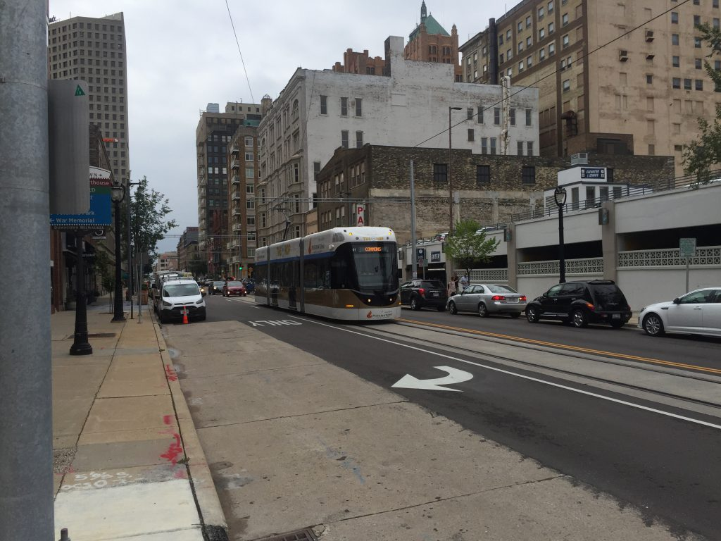 Milwaukee's streetcar, pictured on N. Milwaukee St. during testing. Photo by Dave Reid.