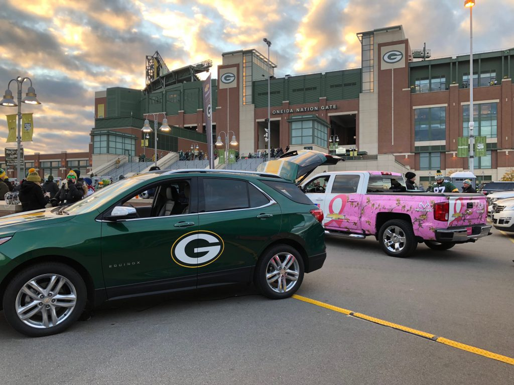 Chevrolet vehicles outside Lambeau Field.