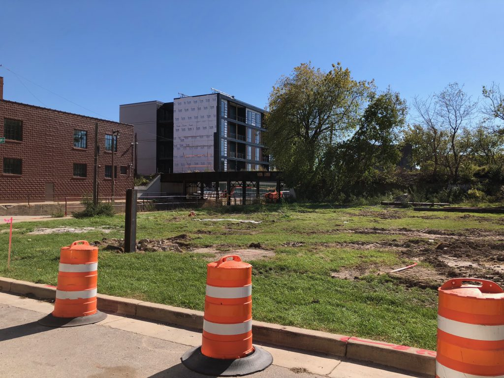 Soil testing was recently completed at the site of planned The Yards apartment building. Photo by Jeramey Jannene.