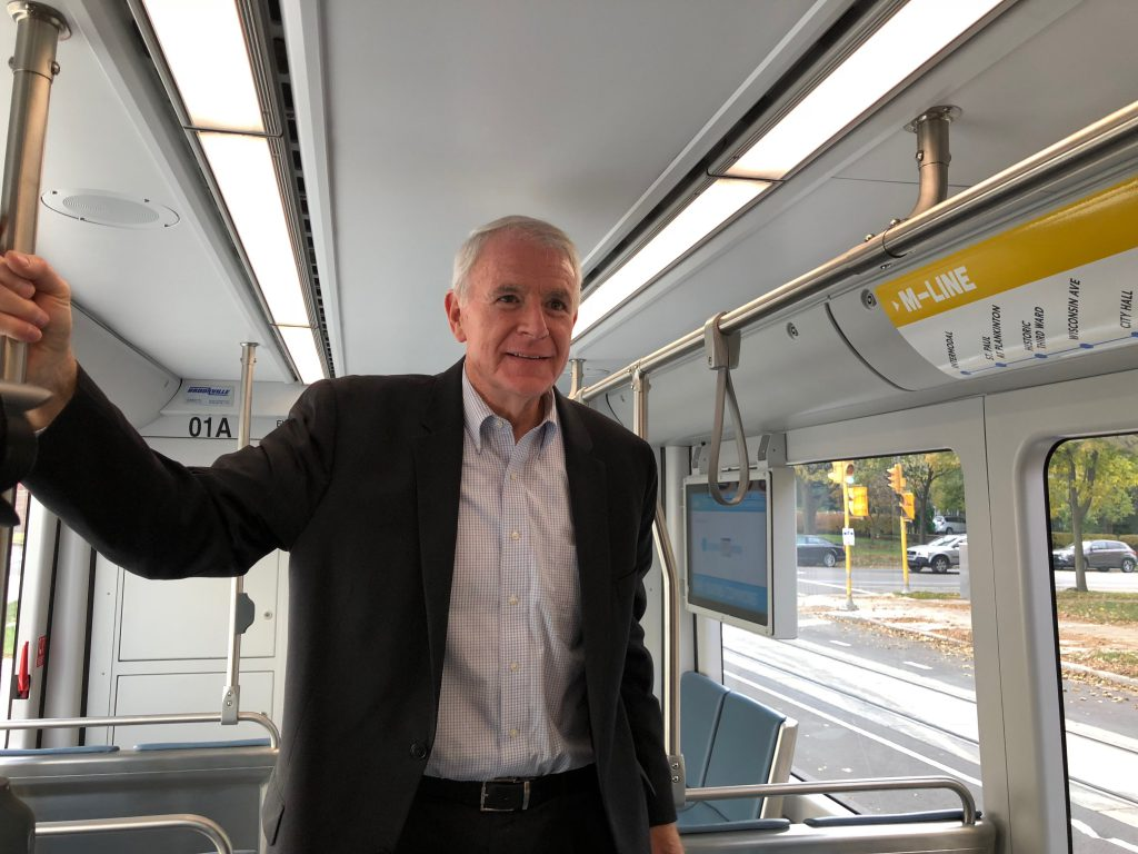 Mayor Tom Barrett riding The Hop. Photo by Jeramey Jannene.