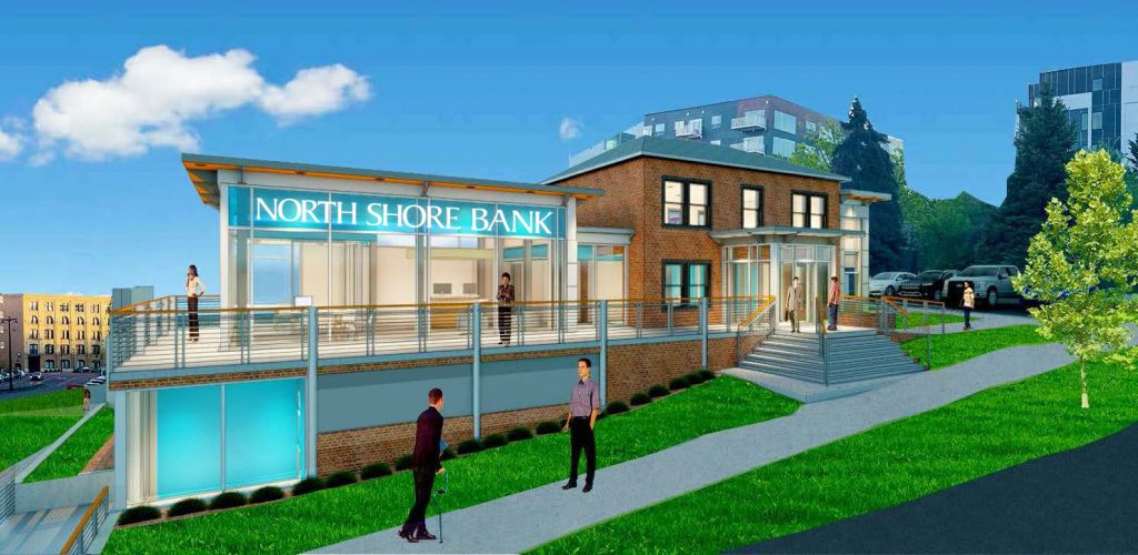 Rendering of planned North Shore Bank at N. Water and E. Pleasant streets.
