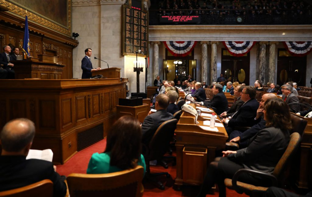 Gov. Scott Walker speaks at the State of the State address in Madison, Wis., held at the State Capitol building, on Jan. 10, 2017. A comparison of omnibus budget motions showed both parties have used the controversial mechanism to anonymously tuck items into the state budget, but the size and impact of the items included has ballooned during Walker's tenure. Photo by Coburn Dukehart/Wisconsin Center for Investigative Journalism.