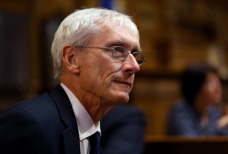 Democratic gubernatorial candidate Tony Evers has called for a tax credit passed in the 2011 budget motion to be severely curtailed, noting that nearly 80 percent the money goes to people and businesses earning at least $1 million a year. Evers, the state superintendent of public instruction, is seen here at the State of the State address in Madison, Wis., on Jan. 10, 2017. Photo by Coburn Dukehart/Wisconsin Center for Investigative Journalism.