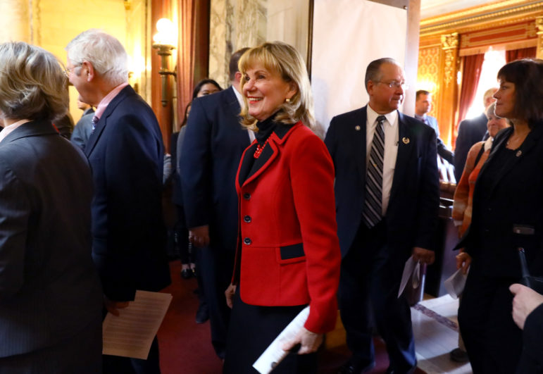 State Sen. Alberta Darling, R-River Hills, is seen during Gov. Scott Walker's budget address on Feb. 8, 2017. In 2017, Darling and John Nygren, R-Marinette, co-chairs of the Joint Finance Committee, said they were working to prevent the use of an omnibus motion that includes a grab bag of anonymously authored items at the end of budget deliberations. But when the 2017-19 budget was passed in September 2017, the two again authorized the final motion to make last-minute changes without public input. Photo by Coburn Dukehart / Wisconsin Center for Investigative Journalism.