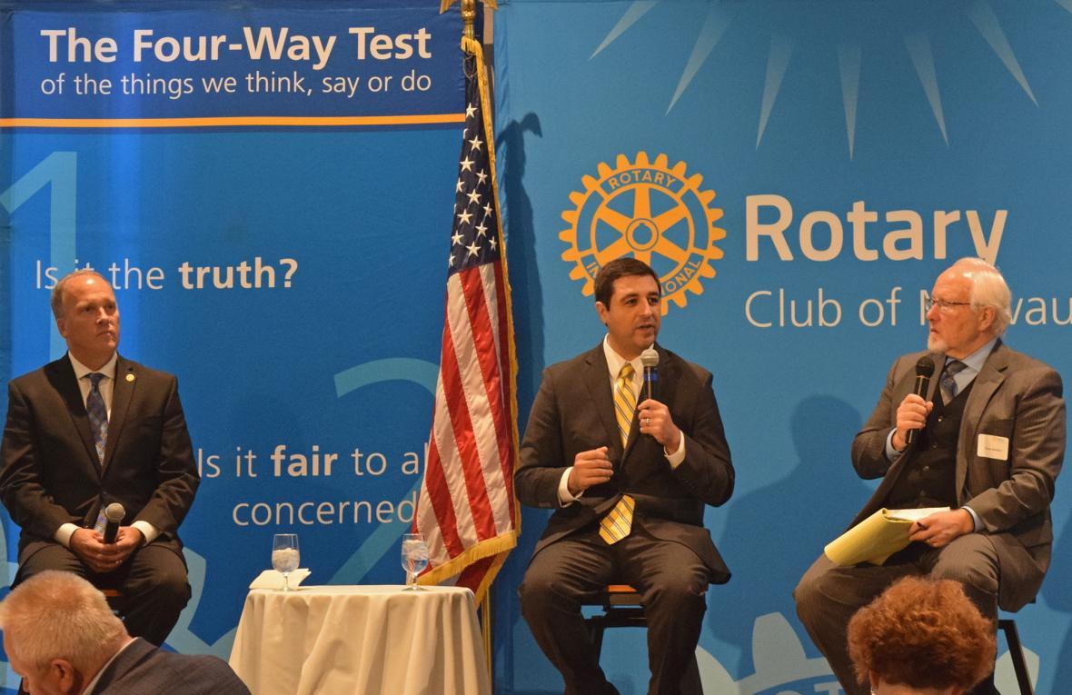 Republican Attorney General Brad Schimel (left) debated his Democratic challenger Josh Kaul Tuesday, Oct. 16, 2018 in Milwaukee. Photo by Ximena Conde/WPR.