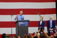 Former President Barack Obama appeared at Milwaukee rally on Friday with Democratic U.S. Senate. candidate Tammy Baldwin and gubernatorial candidate Tony Evers. Photo by Ximena Conde/WPR.