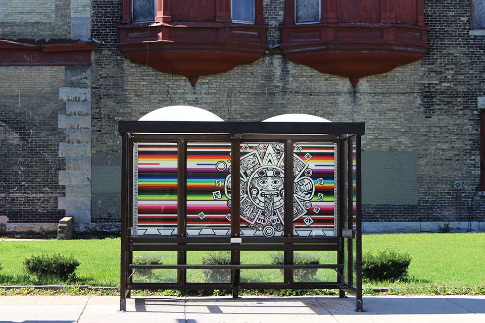 Stolen Bus Shelter Artwork Reinstalled