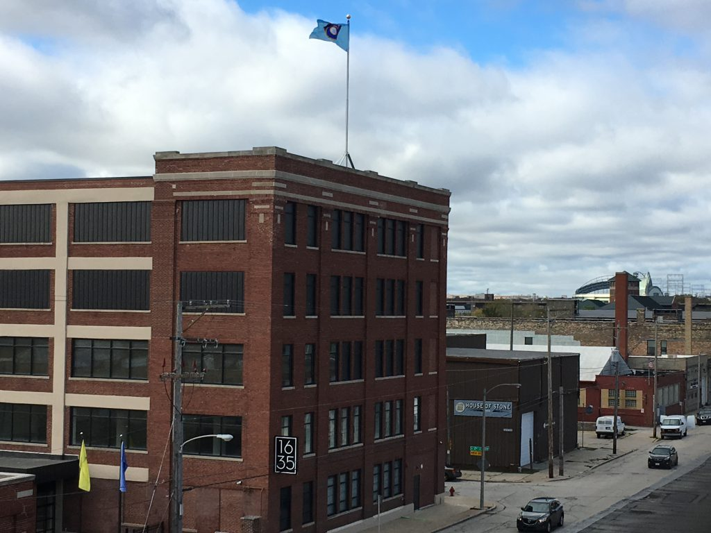 Milwaukee Brewers flag flying over Guardian Fine Art Services, 1635 W. Saint Paul Ave. Photo courtesy of Guardian Fine Art Services.