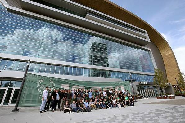 The Milwaukee Bucks sales and service team celebrates selling 10,000 full season ticket memberships at Fiserv Forum on Tuesday, Oct 9, 2018. Photo courtesy of the Milwaukee Bucks.