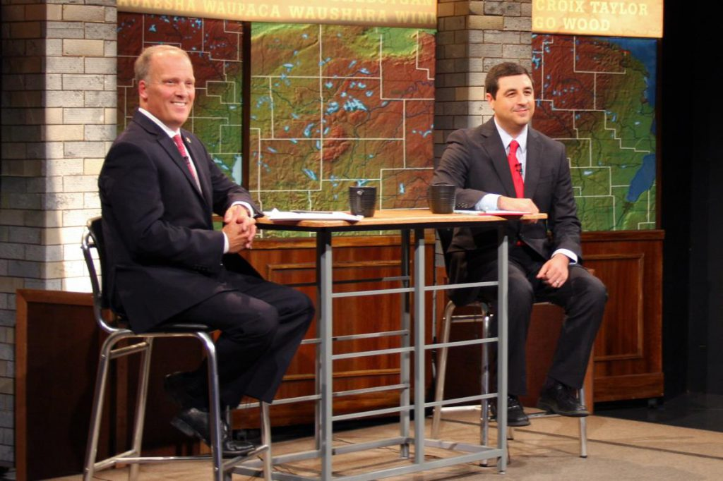 Attorney General Brad Schimel (left) and his Democratic challenger Josh Kaul (right) face off in their first debate of the season Friday, Oct. 12, 2018 in Madison. Photo courtesy of Jenny Peek/WPR.