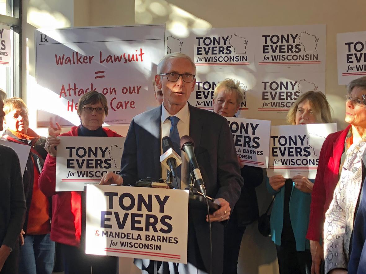 Democratic gubernatorial candidate Tony Evers speaks about health care at a press conference in Madison in Monday, Oct. 15, 2018. Photo by Phoebe Petrovic/WPR.