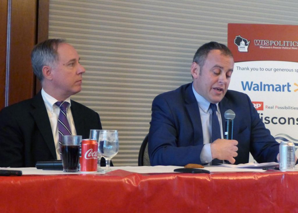 Assembly Speaker Robin Vos, left, and Minority Leader Gordon Hintz, right, speak at a WisPolitics forum Tuesday, Oct. 2, 2018 at the Madison Club. Photo by Shamane Mills/WPR.
