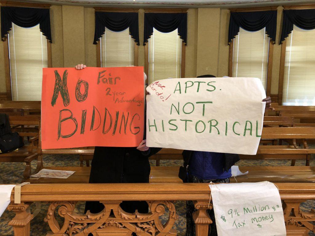 McKinley School redevelopment opponents. Photo by Jeramey Jannene.